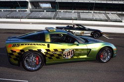 Customized Corvette Z06 E85 concept Pace Car that runs on E85 ethanol fuel (front), with the 30th anniversary commemorative edition Pace Car (rear)