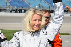 Julianne Hough, Helio Castroneves' dancing with the stars partner, has a ride in the IndyCar two-seater