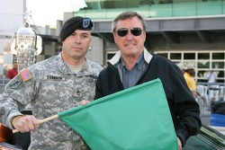 Staff Sgt. Patrick Shannon, 76th Infantry Brigade, Indiana National Guard poses with Johnny Rutherford