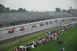 Rain falls on the track before the race