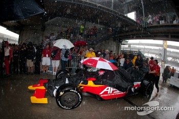 Raphael Matos, AFS Racing heads back to Gasoline Alley during the heavy rainstorm