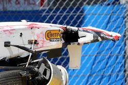 The car of Sergio Perez, Sauber F1 Team after his crash