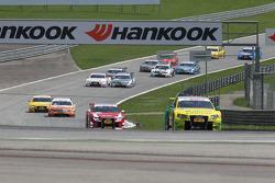 Martin Tomczyk, Audi Sport Team Phoenix Audi A4 DTM leads Oliver Jarvis, Audi Sport Team Abt Audi A4 DTM, Ralf Schumacher, Team HWA AMG Mercedes C-Klasse