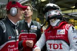 André Lotterer celebrates pole with Dr. Wolfgang Ullrich and Ralf Juttner