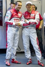 Benoit Tréluyer with Marcel Fässler after his pole winning lap