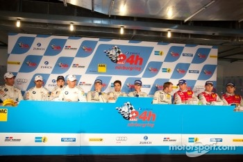 Post-race press conference: race winners Marc Lieb, Lucas Luhr, Romain Dumas, Timo Bernhard, second place Jorg Muller, Augusto Farfus Jr., Uwe Alzen, Pedro Lamy, third place Marc Basseng, Marcel Fssler, Frank Stippler