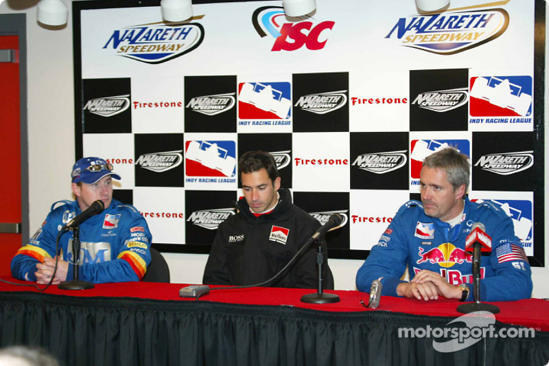 Press conference: Jaques Lazier, Helio Castroneves and Eddie Cheever