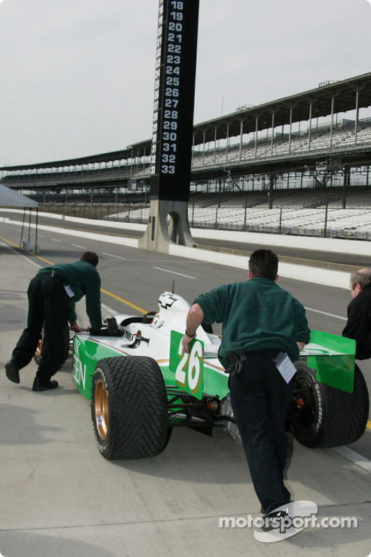 Team Green crew working on the #26 car