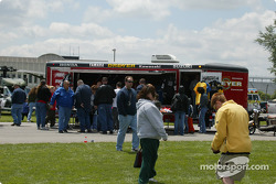 Crowds enjoy the festivities on Pepsi Fun Day during practice