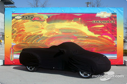 Covered Chevy SSR prior to unveiling