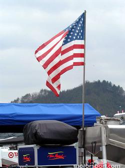 American flag in Motegi paddock area