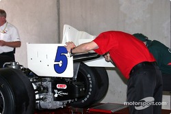 A.J. Foyt Enterprises car at technical inspection