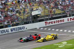 Alex Barron takes the checkered flag ahead of Sam Hornish Jr.