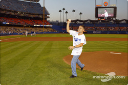 Baseball game at Dodgers Stadium: Gil de Ferran