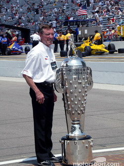 Three-time Indy 500 winner Johnny Rutherford with the Borg-Warner Trophy