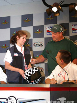 A.J. Foyt III checks out the number he drew for A.J. Foyt IV