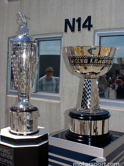 The Borg-Warner Trophy and the IRL Championship trophy