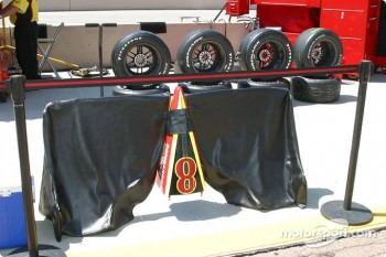 Scott Sharp's front wing replacement sits ready