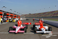Front row for the Toyota Indy 400: pole winner Helio Castroneves with Scott Dixon