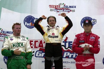 The podium: Paul Tracy, Cristiano da Matta and Gil de Ferran