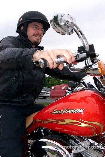 Patrick Carpentier on a Harley-Davidson