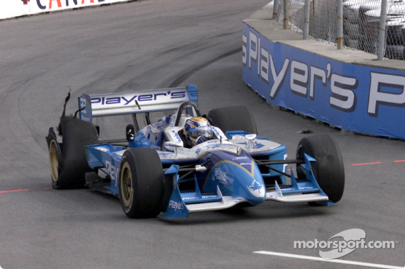 Patrick Carpentier after having been hit by Kenny Brack