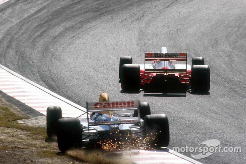 Runde 10: Mansell kommt in Kurve 1 mit Bremsproblemen von der Piste ab