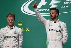 2nd place Nico Rosberg, Mercedes AMG F1 and 1st place Lewis Hamilton, Mercedes AMG F1
