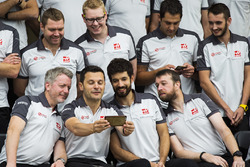 Haas F1 Team selfie while getting ready for team photo