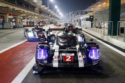 #2 Porsche Team, Porsche 919 Hybrid: Romain Dumas, Neel Jani, Marc Lieb; #1 Porsche Team, Porsche 919 Hybrid: Timo Bernhard, Mark Webber, Brendon Hartley