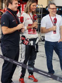 Davide Valsecchi, Sky F1 Italia Presenter with Federica Masolin, Sky F1 Italia Presenter and Jacques Villeneuve