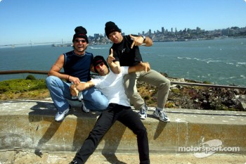 Alex Tagliani, Tony Kanaan and Oriol Servia visiting Alcatraz prison on their way to Portland