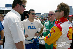 New York Yankee All-Star Jason Giambi joking with Dario Franchitti, Paul Tracy and Jimmy Vasser