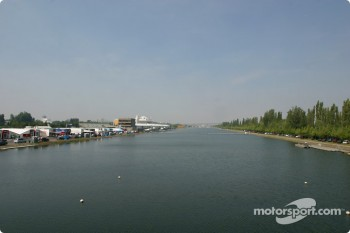 Rowing basin with Circuit Gilles-Villeneuve paddock on the left
