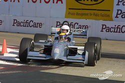 Roberto Moreno take a guest around the track in the two-seater Champ Car