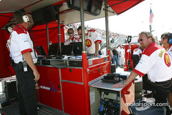 Newman-Haas team members watch the end of the qualifying session