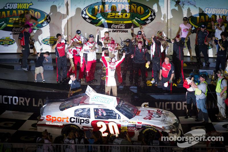 Victory lane: race winner Joey Logano, Joe Gibbs Racing Toyota celebrates