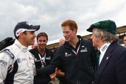 Pastor Maldonado, AT&T Williams with Prince Harry and Sir Jackie Stewart