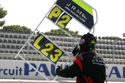 Pit board for #22 JR Motorsport Nissan GT-R: Peter Dumbreck, Richard Westbrook