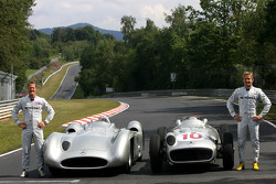 Michael Schumacher, Mercedes GP drives the 1956 Mercedes W196s and Nico Rosberg, Mercedes GP drives the 1956 Mercedes W196