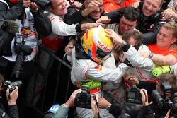 Race winner Lewis Hamilton, McLaren Mercedes celebrates