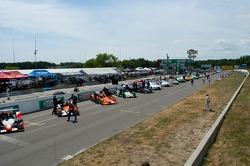 Cars lined up on starting grid