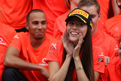 Lewis Hamilton, McLaren Mercedes, Jessica Michibata girlfriend of Jenson Button celebrate with the team