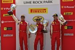 Victory lane: F430 class race winner Juan Hinestrosa, second place Damon Ockey, third place Ryan Ockey