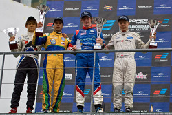Podium from left: Kotaru Sakurai, Felipe Nasr, William Buller and Kevin Magussen