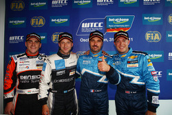 Yvan Muller, Chevrolet Cruz 1.6T, Chevrolet pole position, Robert Dahlgren Volvo C30, Polestar Racing 2nd position, Robert Huff, Chevrolet Cruze 1.6T, Chevrolet 3rd position and Norbert Michelisz BMW 320 TC, Zengo-Dension Team 1st position Yokohama Trophy