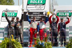 GT podium: class winners Robin Liddell and Ronnie Bremer, second place Jonathan Bomarito and Sylvain Tremblay, third place Dane Cameron and James Gue