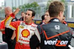 Helio Castroneves describes Tony Kanaan's flight path over his car