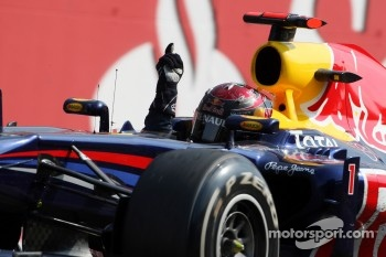 Sebastian Vettel, Red Bull Racing wins the race