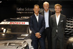 DTM: The new 2012 DTM AMG Mercedes C-Coupé with Michael Schumacher, Dr. Dieter Zetsche (Chairman of Mercedes-Benz Cars) and Nico Rosberg